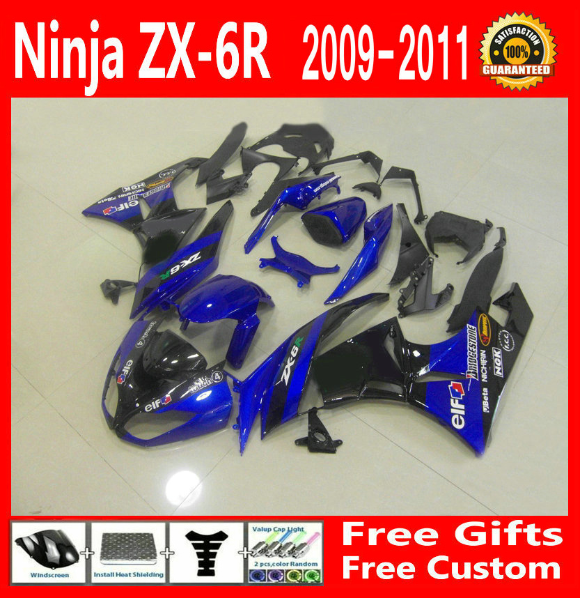 Hot sale Blue Fairing kit For Kawasaki NINJA ZX6R 2009 2010 2011 09 10 11 (Customize free) Fairings g34 image