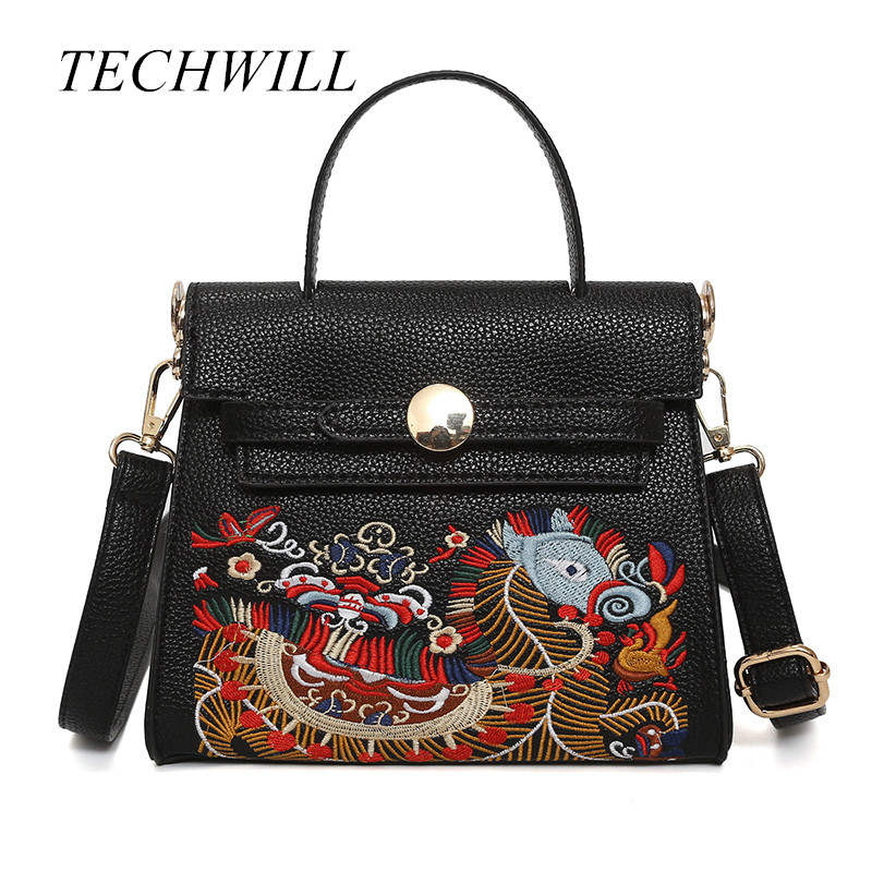 Luxury Women Leather Handbag Dragon Embroidery Vintage Bag Designer Handbags High Quality Famous Brand Tote Shoulder Bag high quality iron wire frame sun glasses women retro vintage 51mm round sn2180 men women brand designer lunettes oculos de sol