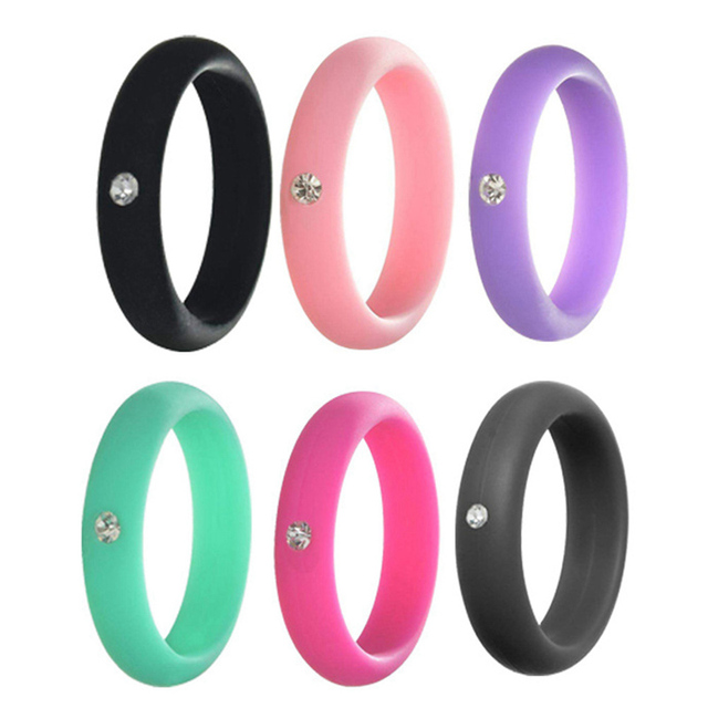 6Pcs/set Crystal Colorful Silicone Ring Stylish Sports Jewelry High Quality Accessories For Exercising Wedding Party Engagement