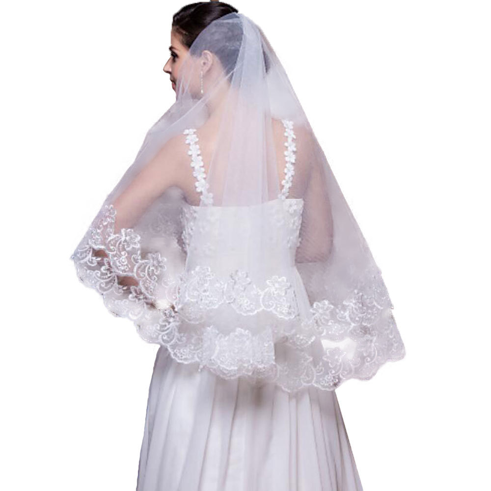 Bride 1.5m White One-layer Lace Veil Kpop Big Name Fashion Red Long 500 Cm Wedding Veils Romantic Hair Accessories for Women