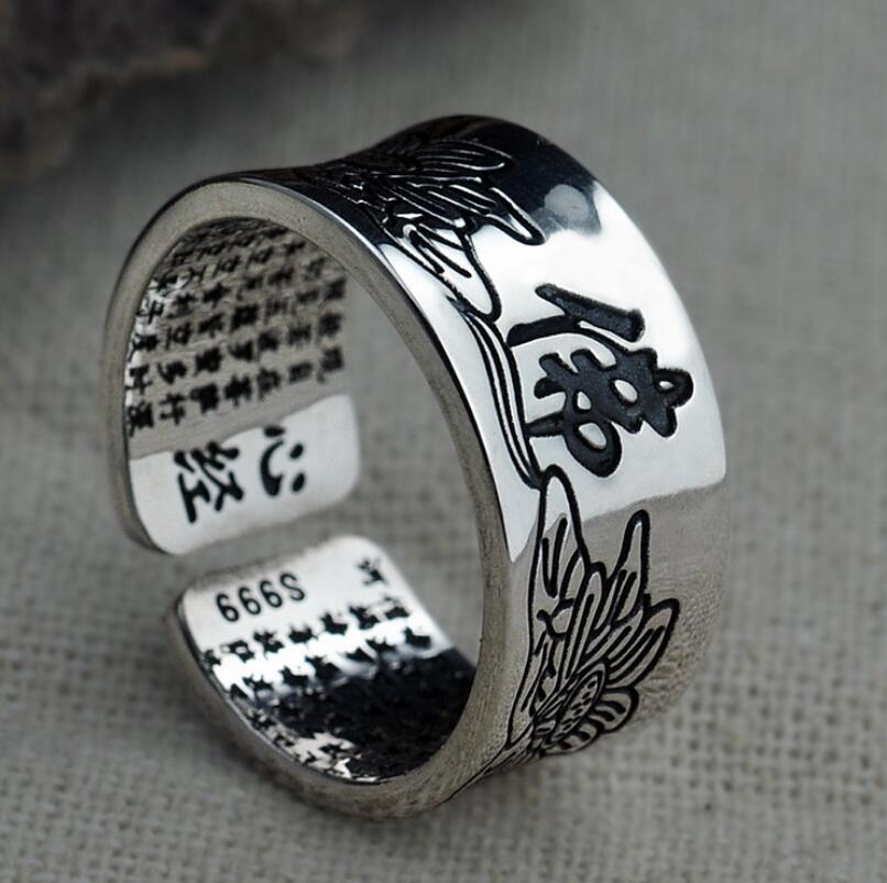 999 Handmade retro Thai Silver Heart Ring men and women paragraph lotus open adjustable ring