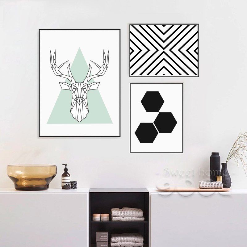Simple style canvas art print painting poster deer head Interiors by design canvas art