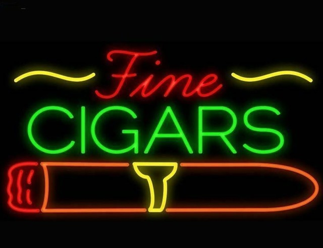 Custom Fine Cigars Cigarette Glass Neon Light Sign Beer Bar