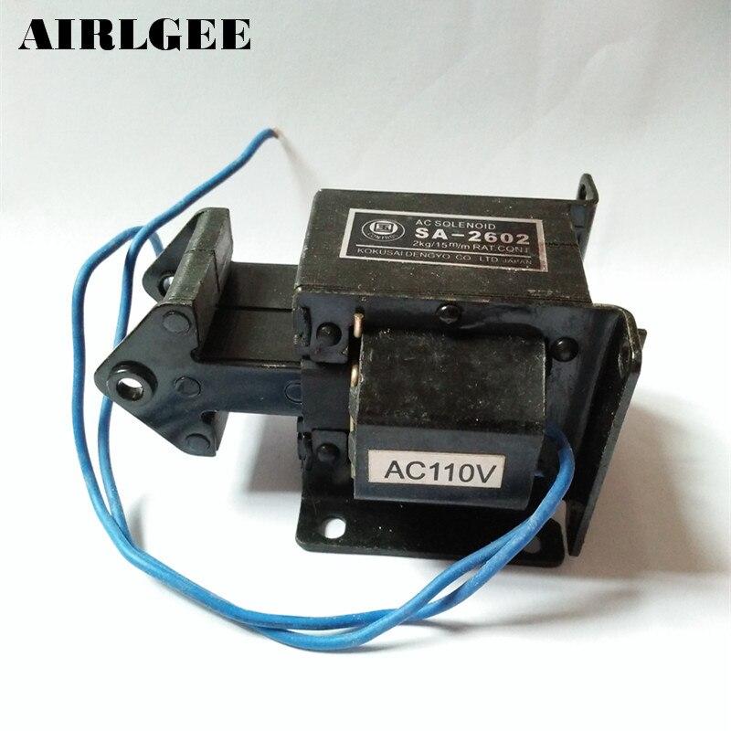 цена на High quality AC 110V 15mm Stroke 2Kg Force Solenoid Electromagnet SA-2602 Free shipping