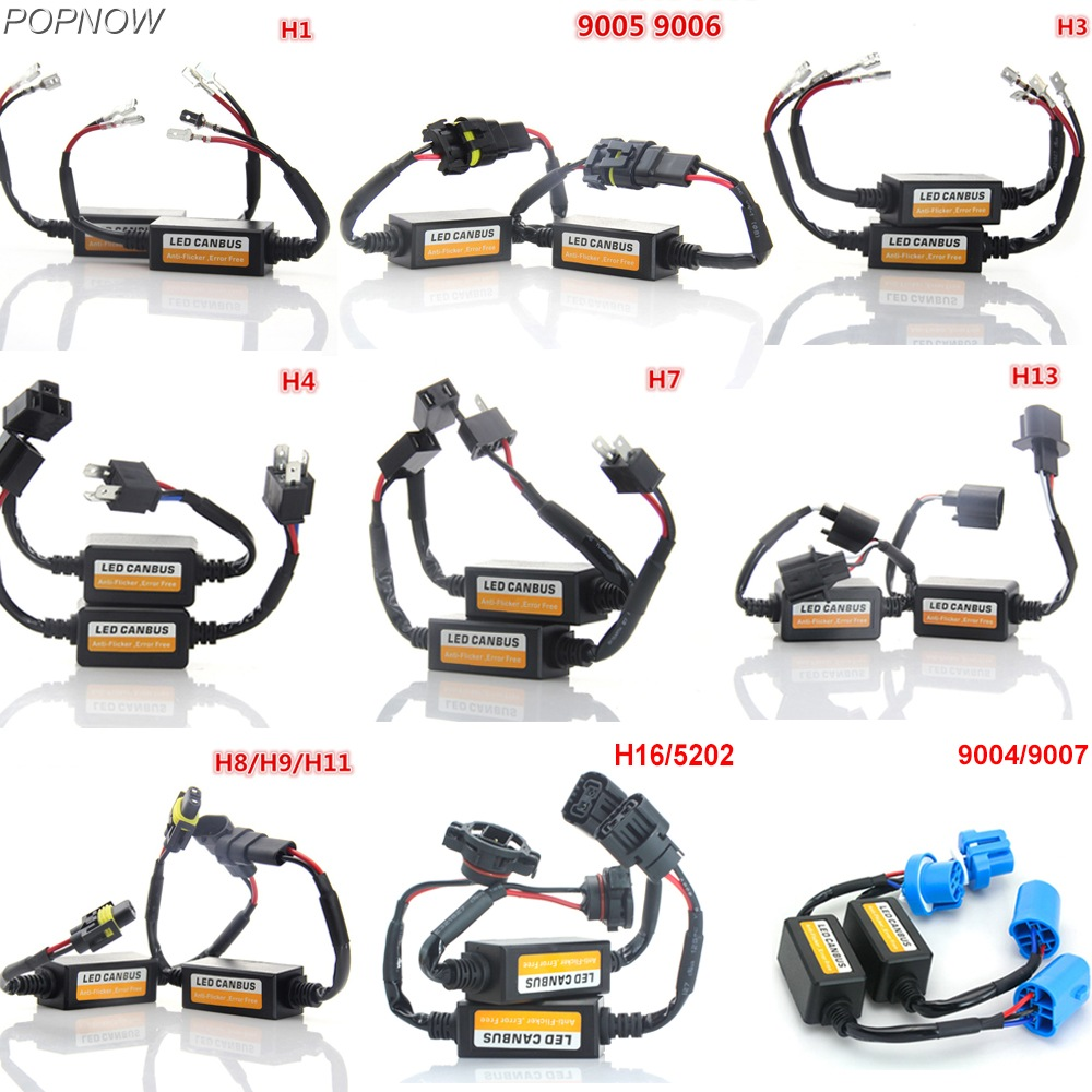 Pair H4 HB3 HB4 LED Car Headlight Canbus Decoders H7 H11 H13 Anti Flicker Error Free H1 H3 Warning Resistor Canceller fsylx 2pc car h7 led warning canceller harness resistor 50w h7 decoder hid led headlight fog lamps h7 led load resistor decoder