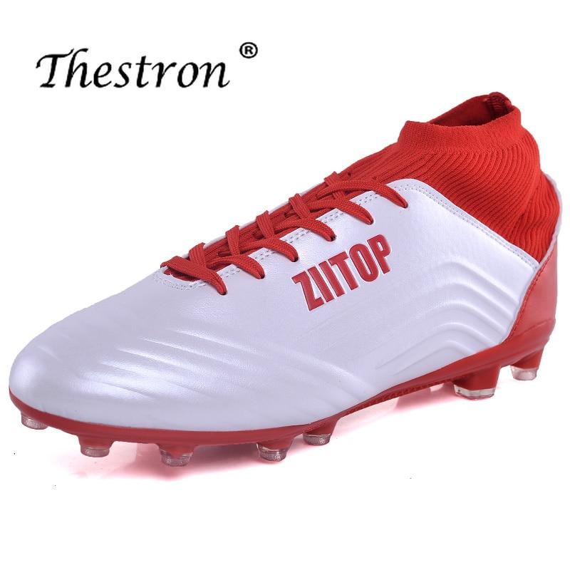 En plein air Long Épi Hommes Chaussures Rouge Bleu Unisexe chaussures football Haute Top Mens Haute Cheville chaussures de football Jeune Garçon chaussette de football Bottes