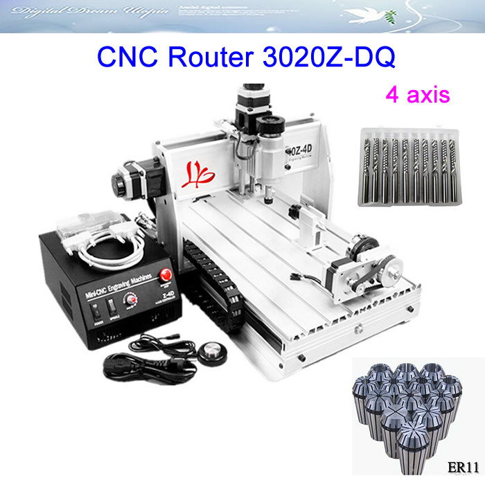 Wholesale! 4 axis CNC Router 3020Z-DQ Engraving machine with Ball screw with free gifts  цены