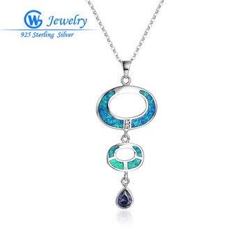 Bonito collar de plata esterlina 925 con dije de ópalo azul con...