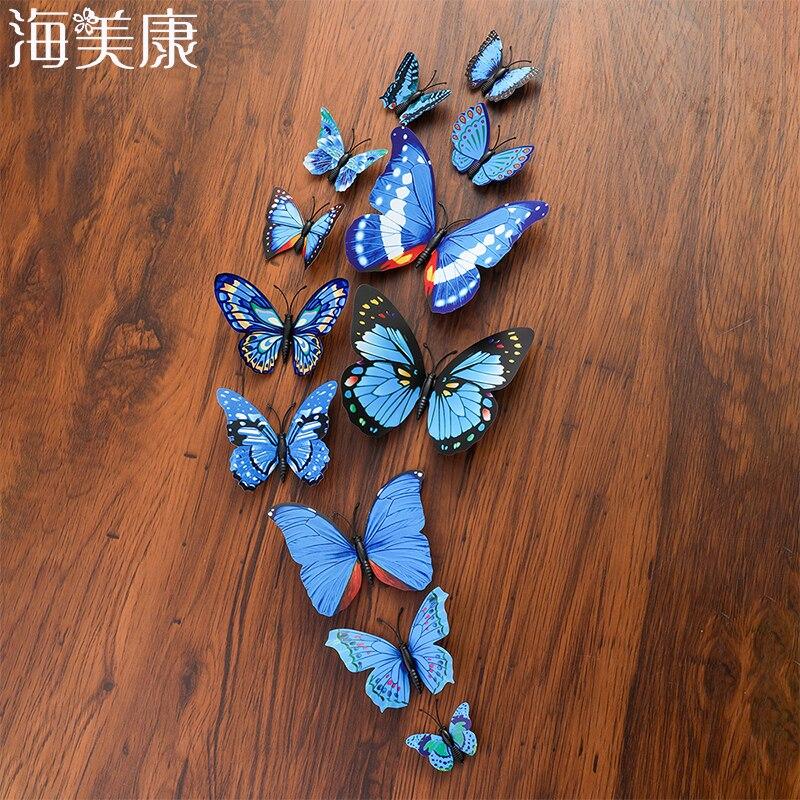 Haimeikang 12 Pcs PVC 3D Butterfly Wedding Decoration Posterfor Kids Adhesive Decoration Cute Butterflies Stickers Art Design