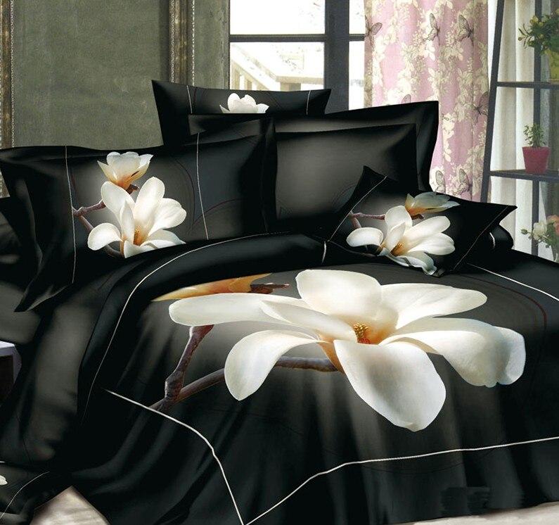 3d black and white floral bedding set magnolia flower duvet cover bedspread fitted bed sheet. Black Bedroom Furniture Sets. Home Design Ideas