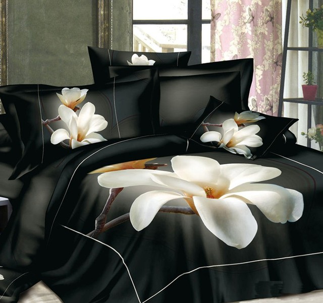 3D Black And White Floral Bedding Set Magnolia Flower Duvet Cover Bedspread Fitted  Bed Sheet Super