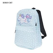 Classic Unicorn Cartoon Printing Backpack Girls Canvas Schoolbag Women Travel Softback Flowers Wave Point Rucksack Mochila Mujer