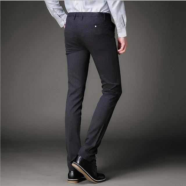 Stretch Skinny Dress Pants Men Linen Business Office Pencil Suit Pants Slim Fitted Flat Black ...