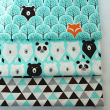 Blue Jungle Fox Bear Panda Tri angle 100% Cotton Fabric For Diy Patchwork Sewing kids Home Textile Quilting Tilda Tissus Crafts