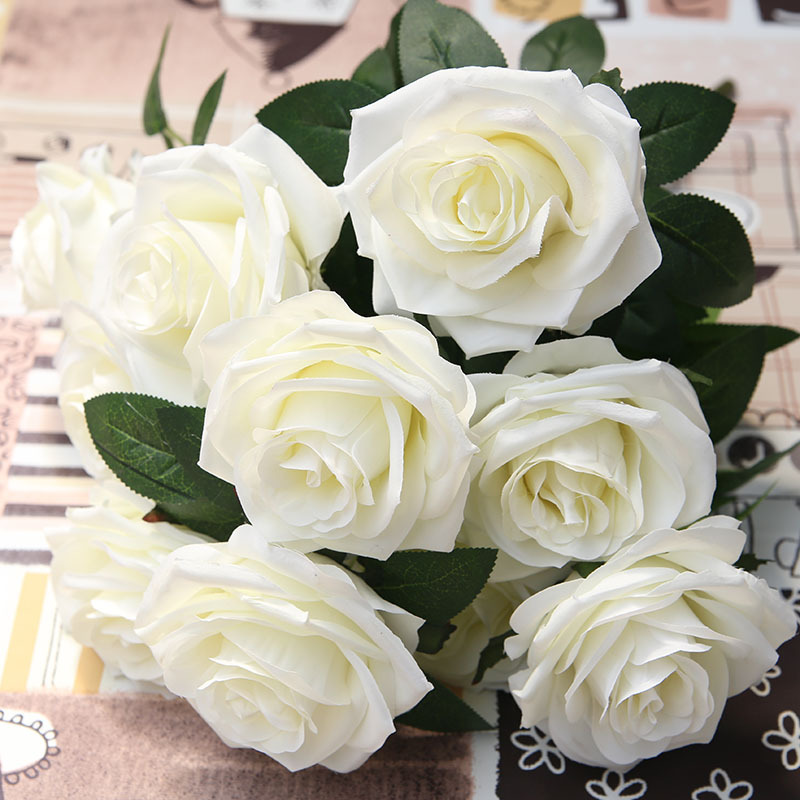 Artificial Flowers Rose Silk Bouquet 10 Big Head 11 Colour Fake Flowers for Home Wedding Decoration indoor
