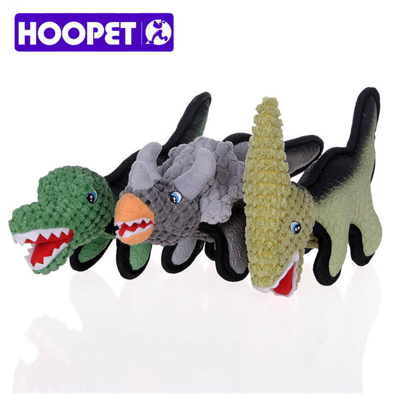 HOOPET Dog Cat Pet Toys Puppies Rubber Dinosaur Resistance to Bite Molar Sound Toys High Quality