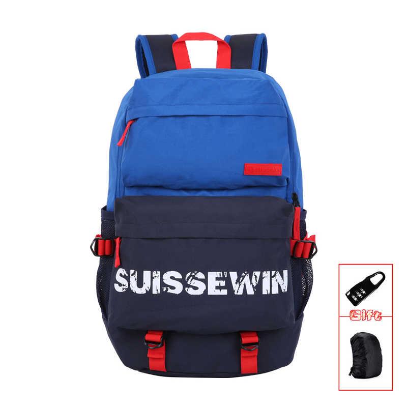 9ae5c32296b2 SUISSEWIN бренда школьный рюкзак для мальчиков и девочек ранцы для  подростков с принтом Школа Рюкзак портфель