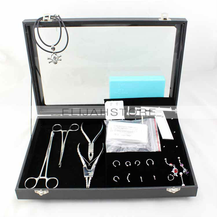 ФОТО Professional 5pcs Body Makeup Piercing Tool Kit Stainless Steel Tattoo Machine with High-grade Glass Box Free Shipping