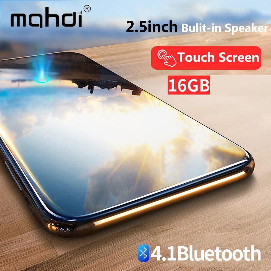 Bluetooth lecteur mp3 2.4 pouces écran tactile intégré haut-parleur avec radio FM/enregistrement Portable mince sans perte son baladeur