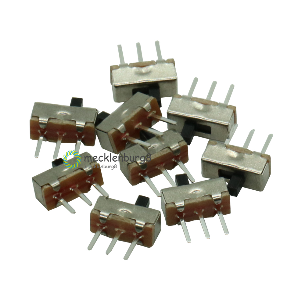 20Pcs DC 0.5A 50V SPDT Position slide switch 1Pole 2Throw 3 Pin PCB Panel Miniature Vertical Slide Switch Color: Silver