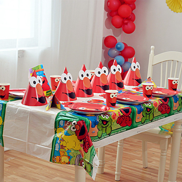 Children Cartoon Elmo Birthday Party Supplies Idea Favor Decoration Sesame Street Balloon Tableware Cup Plate Hat