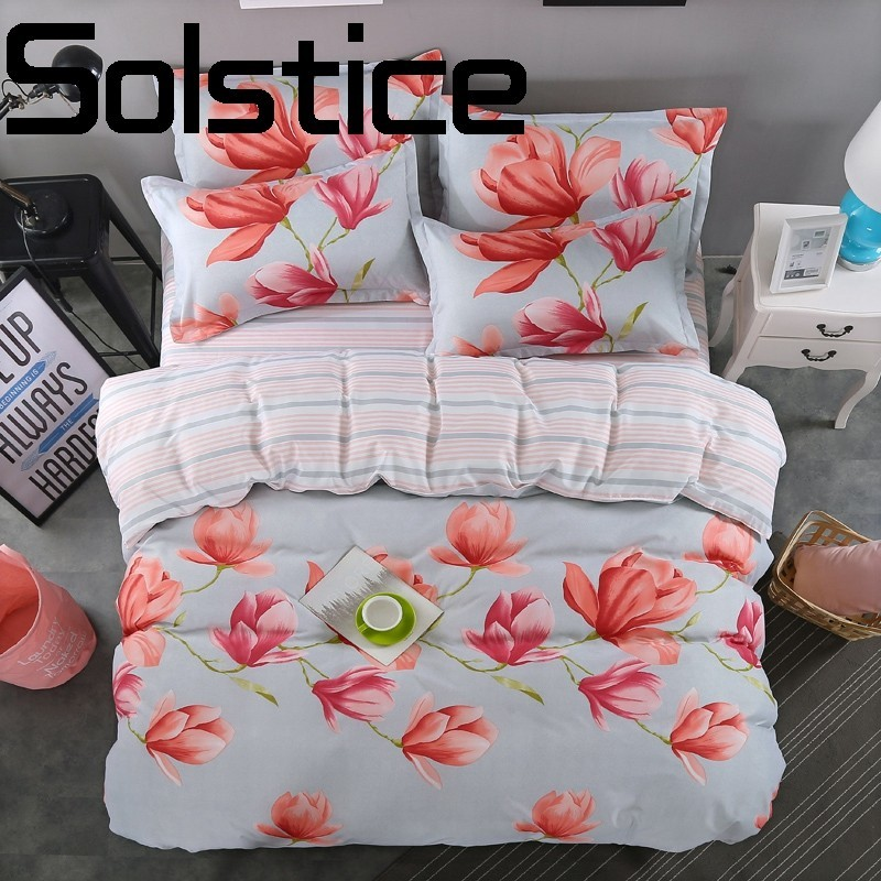 Solstice Home Textile 2018 Comfortable Skin Friendly Soft Breathable Reactive Bedding Sheets Quilt Cover Pillowcase 3/4pcs