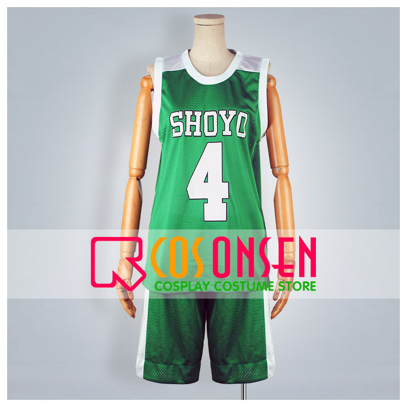 COSPLAYONSEN Slam Dunk Shoyo High School Kenji Fujima No.4 Sport Uniform Cosplay Costume Green Color