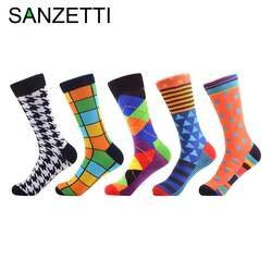 Sanzetti 5 пар/лот мужская повседневная хлопковые носки Наполеон Иисус Картина маслом экипажа носки красочные забавные зимние Happy Socks
