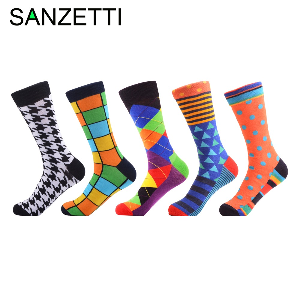 SANZETTI 5 pairs/lot Cool Men's Casual Combed Cotton   Socks   Van Gogh Mona Lisa Jesus Oil Painting Crew   Socks   Colorful Funny   Socks