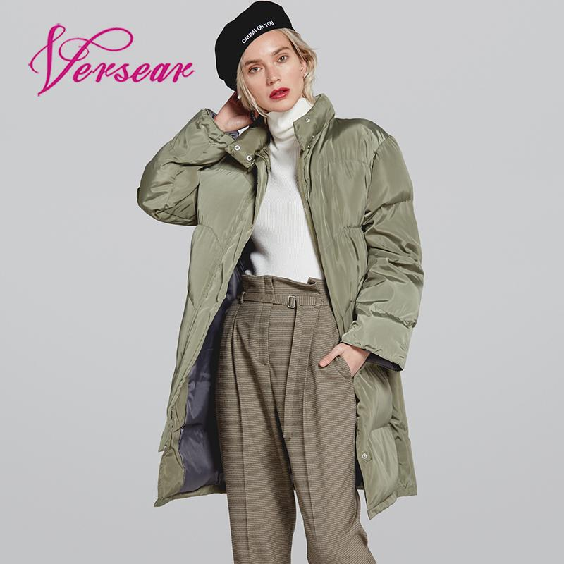 Versear 2019 Winter Warm Women's   Down     Coat   Silm Long Sleeve Thick Puffer Jacket Stand Collar Zipper Female   Down   Jacket Outerwear