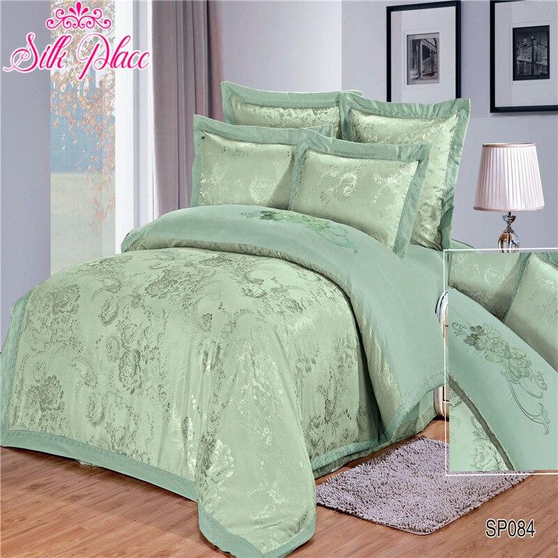 Silk Place Fashion Quality Bedding Set Queen Size Jacquard Duvet Cover Bedsheet Pillowcase 4- 7pcs Europe Size