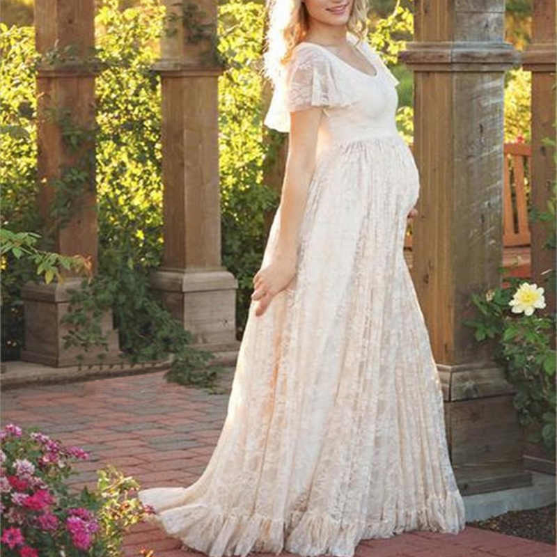Maternity Photography Props Pregnant Women Photo Shoot Wear Dresses Pregnancy Baby Showers White Pink Lace Long Dress Clothes