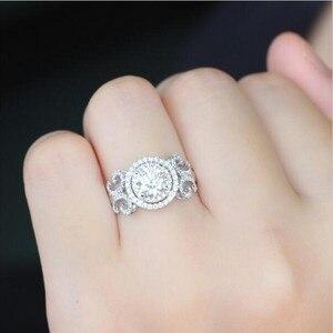 Image 5 - Vecalon yeni kadın takı yüzük yuvarlak kesim 2ct AAAAA zirkon Cz 925 ayar gümüş nişan düğün Band yüzük kadınlar için