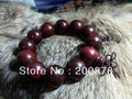 BRO646 Buddhist Wooden beads Prayer Wrist Mala,20mm,Indian Big Leaf Red Sandalwood Man Bracelet