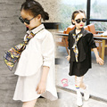 2017 Fashion Children Casual Long Sleeves Black White Shirt Blouses Baby Girls School Cotton Clothes Kids Casual Clothes 12 14 T