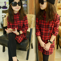 Retail Teenage Girls' Red Plaid Shirts All-match Cotton Long Shirt Dress for Fall
