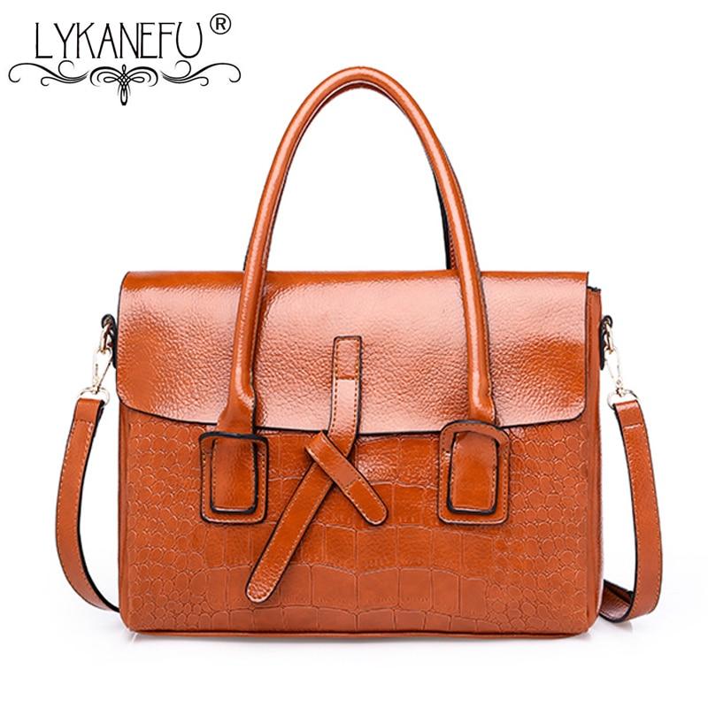 LYKANEFU Retro Women Leather Handbag for Business Briefcase Handbags Satchel Bag Ladies PU Leather Tote Shoulder Bags Designer