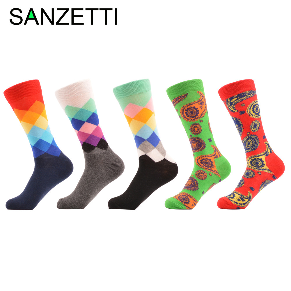SANZETTI 5 pairs/lot Fashion Street Style Combed Cotton Novel Socks Classic Gradient Casual Mens Business Dress Wedding Socks