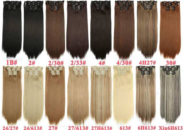 Long Blonde hair Synthetic Clips in Hair Extensions Straight 22 5