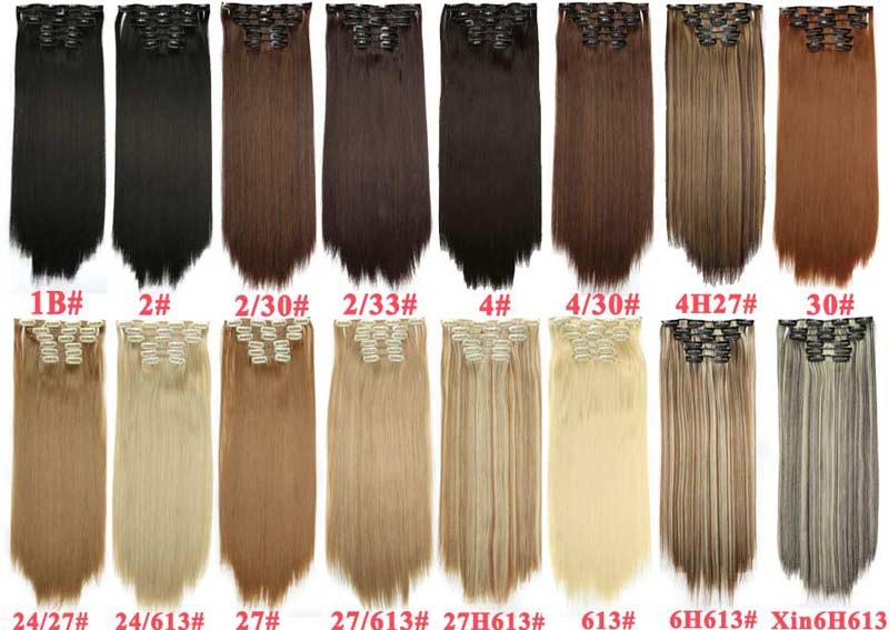 Långt blont hår Syntetiska klämmor i hårförlängningar Rak 22 - Syntetiskt hår - Foto 5