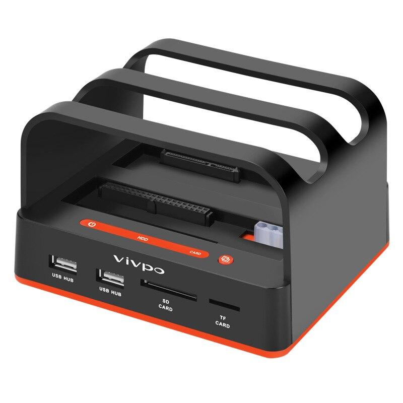 USB3.0 Dual Hard Disk Base 2.5 3.5 Inch Serial Port Mobile Hard Disk Box Sata Reader Offline Torture Machine W325CS