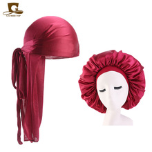Hot Sales Durag And Bonnet 2pcs Set Men Long Tail Silky Headwrap Women 42cm Extra Big Comfortable Sleeping