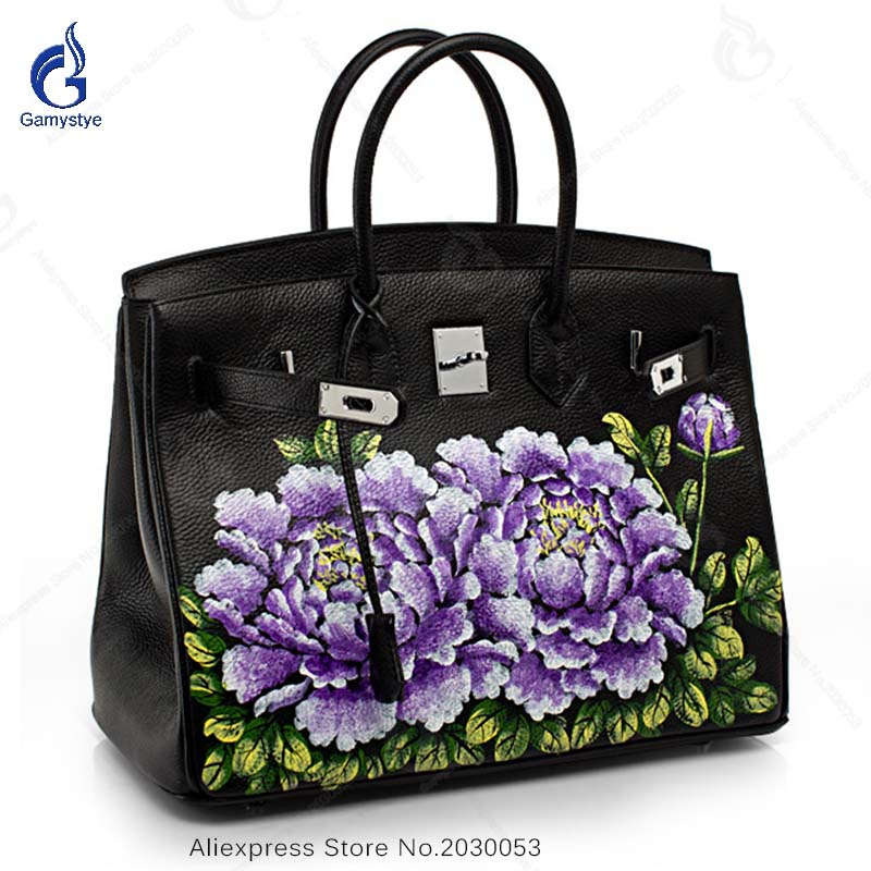 New Arrival Genuine Leather Bags Women Fashion Cow Leather Handbag Purple Floral Prints Casual Big Crossbody Shoulder Bag new arrival 2018 genuine leather bags women vintage pillow cow leather handbag ladies solid casual small crossbody shoulder bag