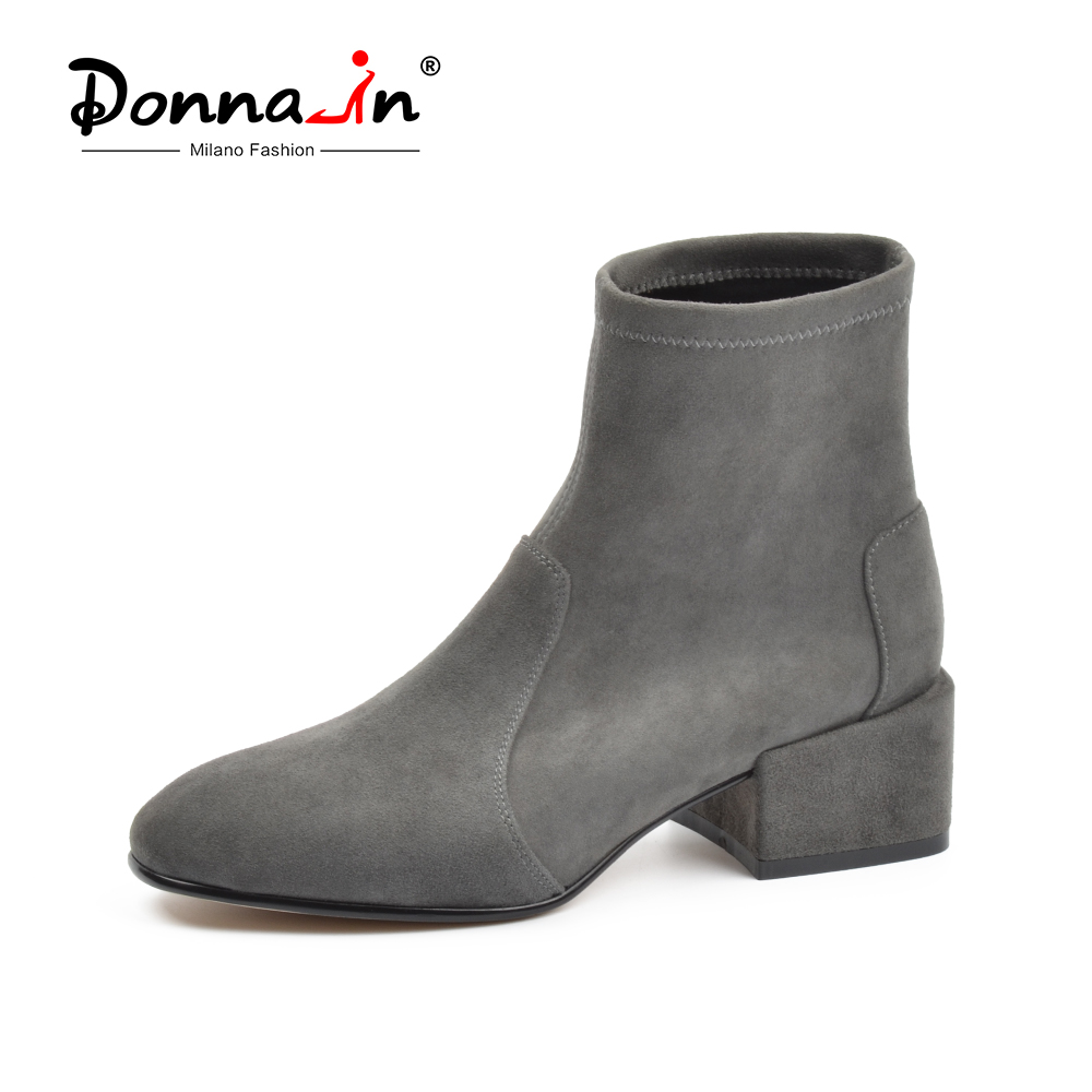 Donna-in Autumn Boots Women Ankle Boots Para Mulheres Genuine Leather Stretch Boots Square Toe Heels Women Shoes Fashion 2018 цена