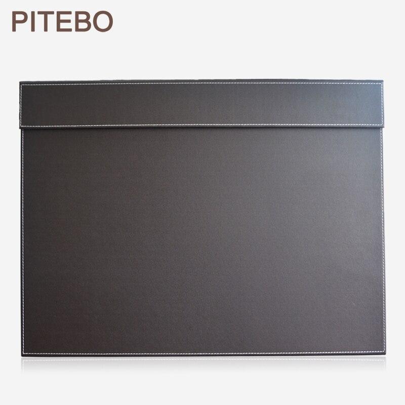 Bureau de bureau en cuir pitpacket 60*45 cm A3/A4 tablette de bloc-notes de dessin et d'écriture avec trombone brun