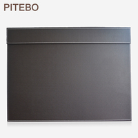 PITEBO 60*45cm leather office desk A3/ A4 drawing & writing board writting pad tablet with file paper clip brown