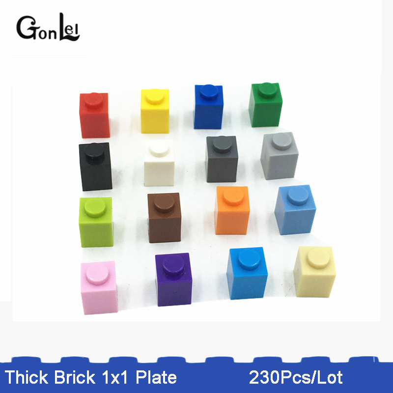 230Pcs Lot 1x1 Thick Brick Educational Toys Children MOC Brick Learning set Classic Building Blocks Compatible whit Parts in Blocks from Toys Hobbies