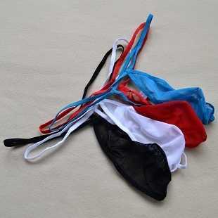 Low waist sexy men's underwear g-string and thongs men's lace gauze transparent bulges panties  penis bag
