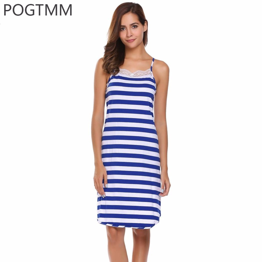 Summer Sexy Women Striped Night Shirt Cotton Dress Lace Nightwear Sleepwear Long Nightgowns Blue White Purple Gray Chemise Femme