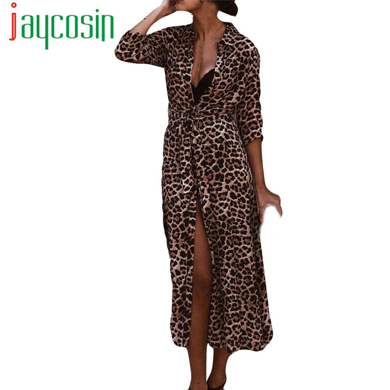 New arrivals New Womens Dress Leopard Print sexy Maxi V-Neck Dress Tied Ladies Holiday Long Sleeve Fashion Vacation Dress 40#